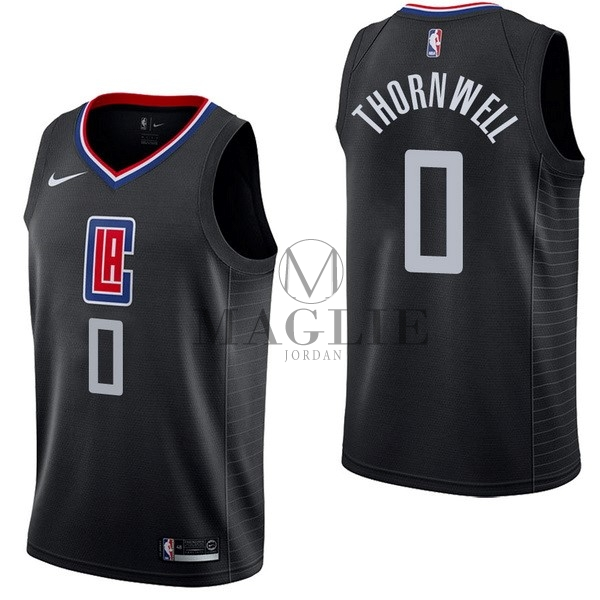 Maglia NBA Nike Los Angeles Clippers NO.0 Sindarius Thornwell Nero Statement A Poco Prezzo Online
