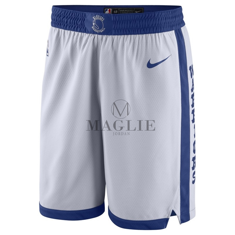 Pantaloni Basket Golden State Warriors Nike Retro Bianco A Poco Prezzo Online