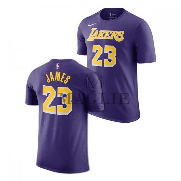 Maglia NBA Nike Los Angeles Lakers Manica Corta NO.23 Lebron James Porpora Statement 2018-19 A Poco Prezzo Online