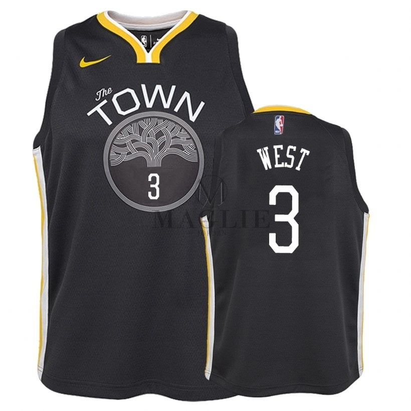 Maglia NBA Bambino Golden State Warriors NO.3 David West Nero Statement 2018 A Poco Prezzo Online