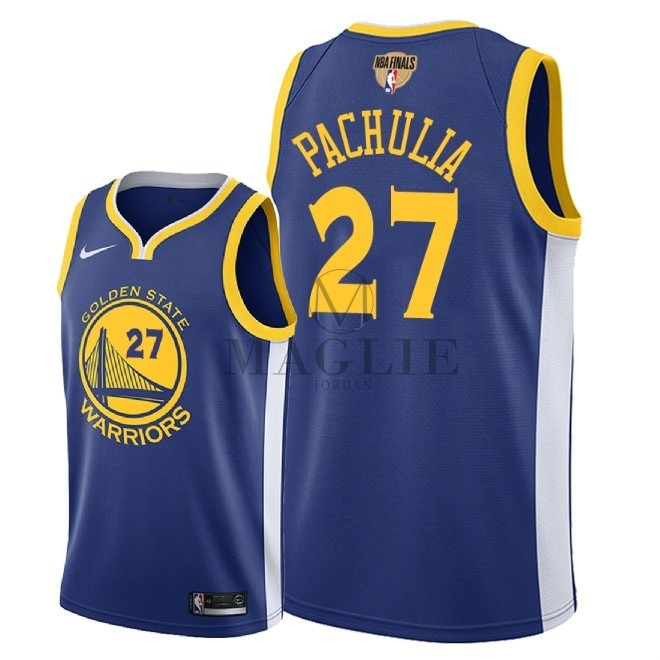 Maglia NBA Golden State Warriors 2018 Campionato Finali NO.27 Zaza Pachulia Blu Icon Patch A Poco Prezzo Online