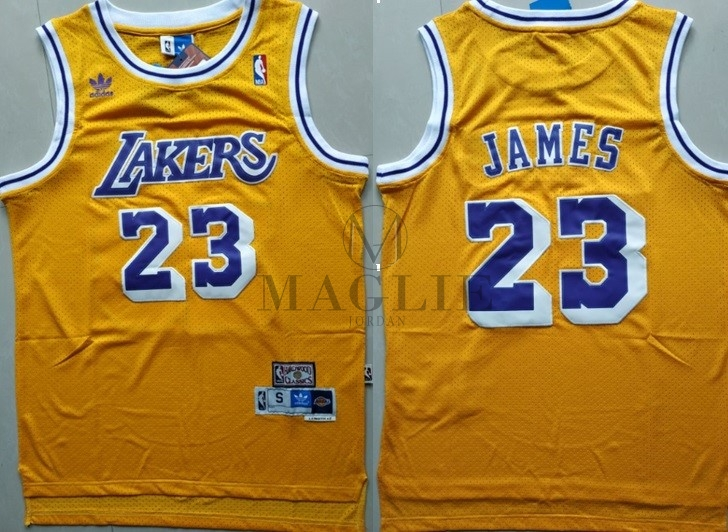 Maglia NBA Los Angeles Lakers NO.23 Lebron James Retro Giallo A Poco Prezzo Online