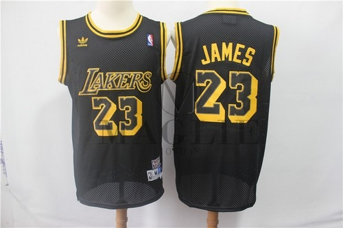 Maglia NBA Los Angeles Lakers NO.23 Lebron James Retro Nero A Poco Prezzo Online