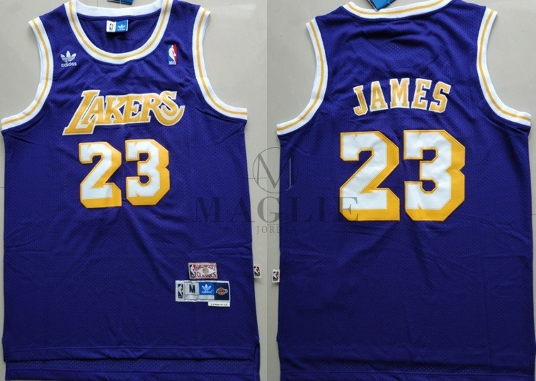 Maglia NBA Los Angeles Lakers NO.23 Lebron James Retro Porpora A Poco Prezzo Online