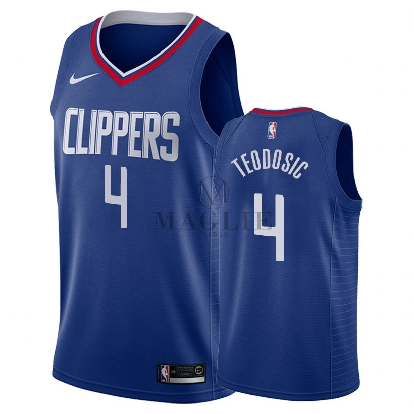 Maglia NBA Nike Los Angeles Clippers NO.4 Milos Teodisic Blu Icon 2018 A Poco Prezzo Online