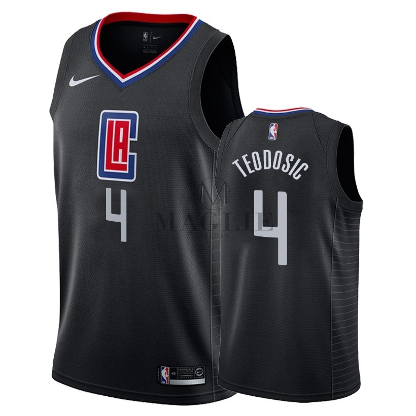 Maglia NBA Nike Los Angeles Clippers NO.4 Milos Teodisic Nero Statement 2018 A Poco Prezzo Online