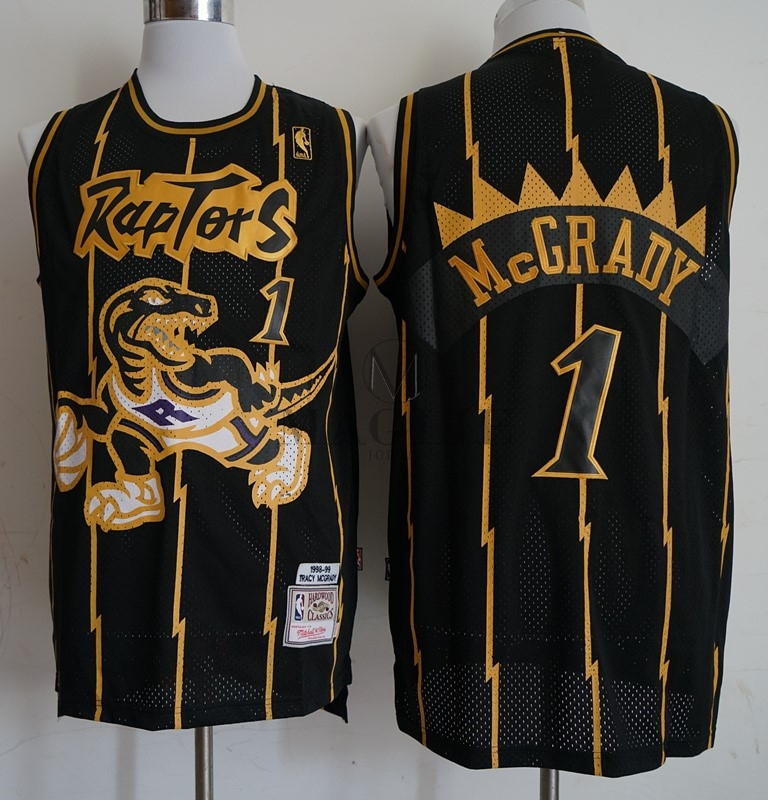 Maglia NBA Toronto Raptors NO.1 Tracy McGrady Retro Oro Nero 1998-99 A a3f850d99fc8