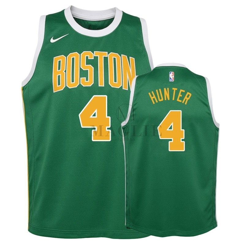 Maglia NBA Bambino Earned Edition Boston Celtics NO.4 R.J. Hunter Verde 2018-19 A Poco Prezzo Online