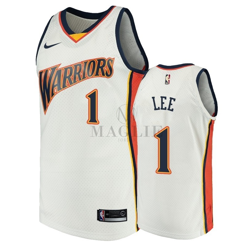 Maglia NBA Golden State Warriors NO.1 Damion Lee Bianco Throwback A Poco Prezzo Online