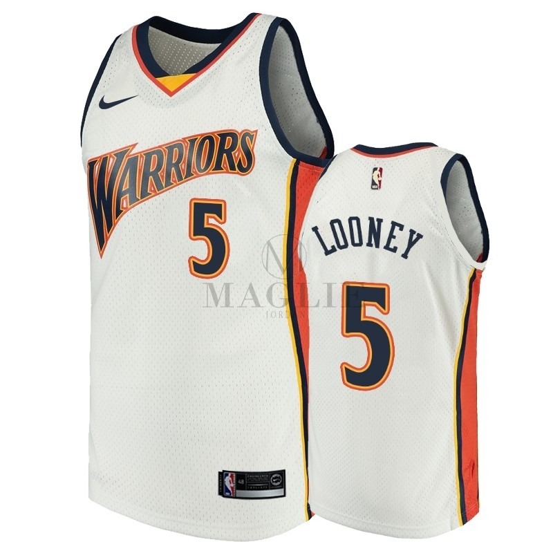 Maglia NBA Golden State Warriors NO.5 Kevon Looney Bianco Throwback A Poco Prezzo Online