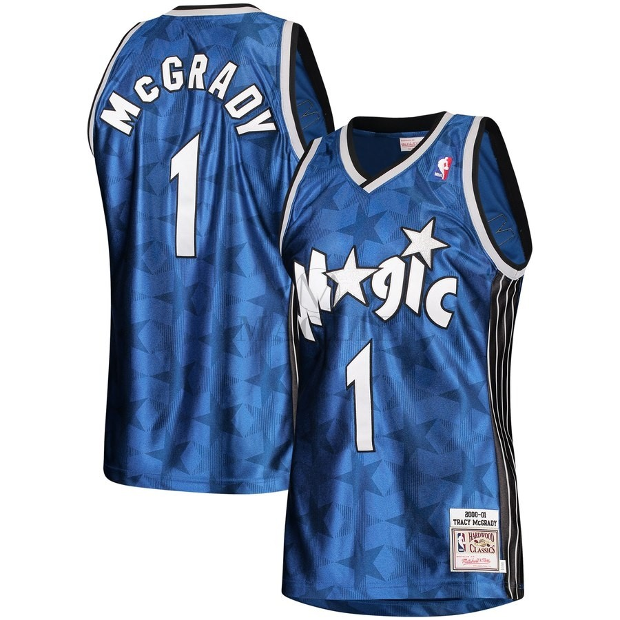 Maglia NBA Orlando Magic NO.1 Tracy McGrady Blu Hardwood Classics 2000-01 A Poco Prezzo Online