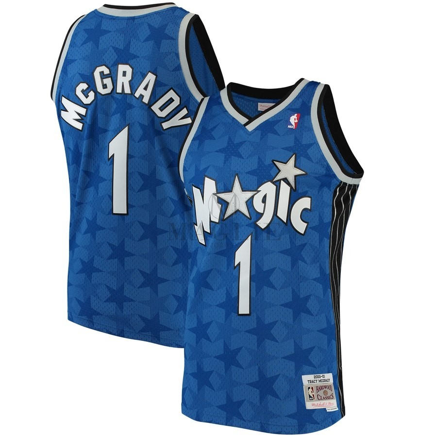 Maglia NBA Orlando Magic NO.1 Tracy McGrady Blu Hardwood Classics 2001-02 A Poco Prezzo Online