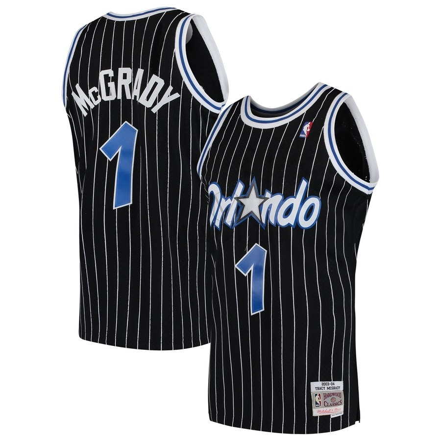 Maglia NBA Orlando Magic NO.1 Tracy McGrady Nero Hardwood Classics 2003-04 A Poco Prezzo Online