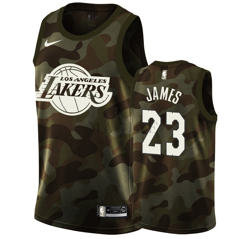 Maglia NBA Nike Los Angeles Lakers NO.23 LeBron James Camo 2019 A Poco Prezzo Online