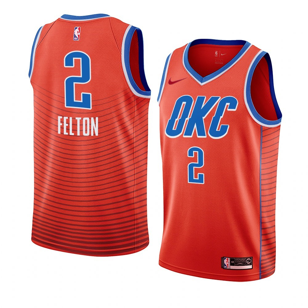 Maglia NBA Nike Oklahoma City Thunder NO.2 Raymond Felton Orange Statement 2019-20 A Poco Prezzo Online