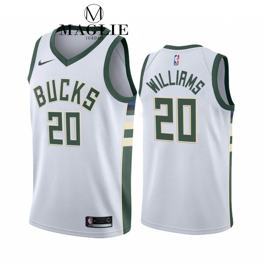 Maglia NBA Nike Milwaukee Bucks NO.20 Marvin Williams Bianco Association 2019-20 A Poco Prezzo Online