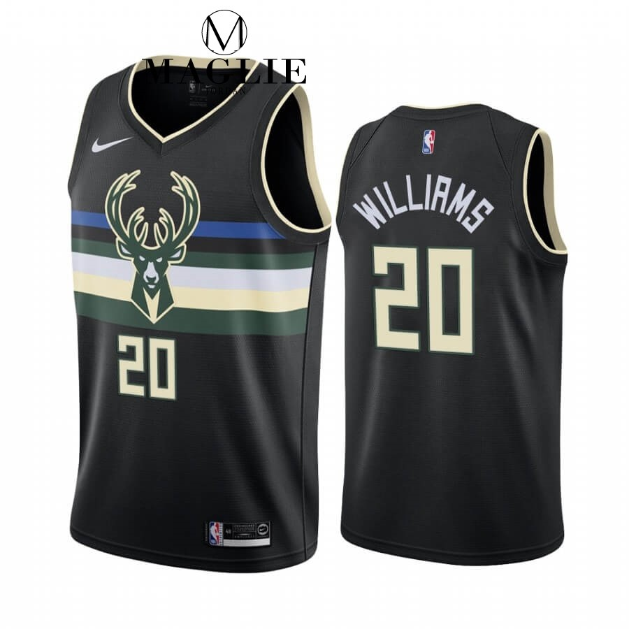 Maglia NBA Nike Milwaukee Bucks NO.20 Marvin Williams Nero Statement 2019-20 A Poco Prezzo Online