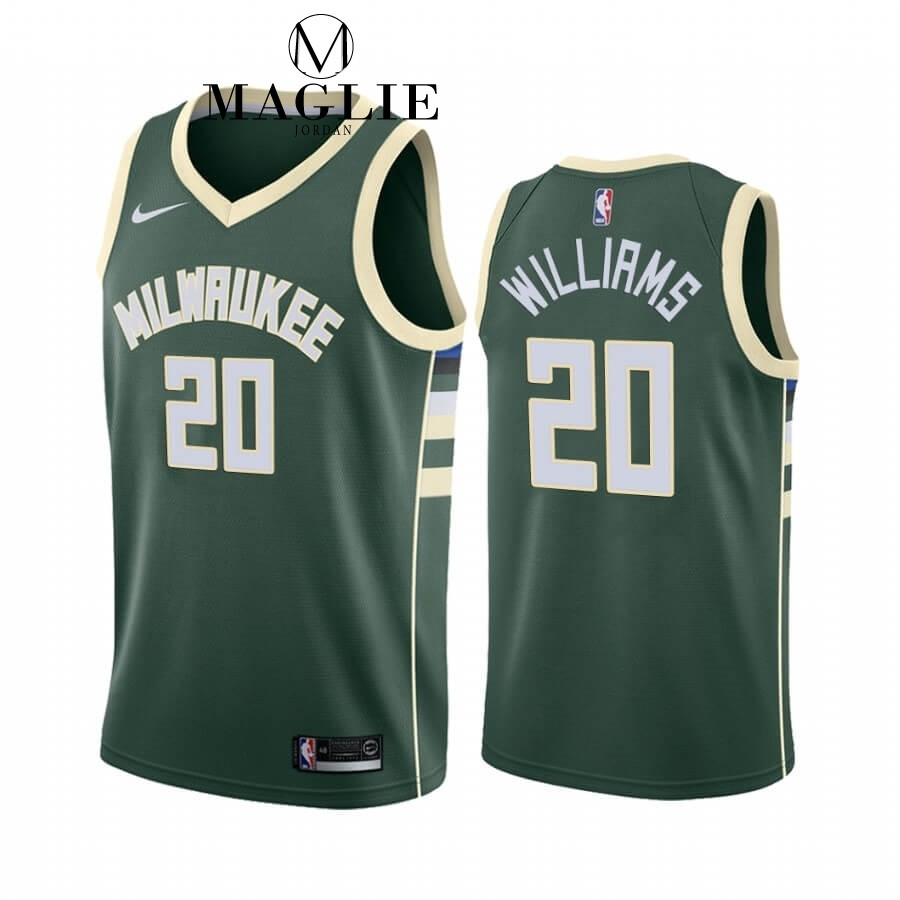 Maglia NBA Nike Milwaukee Bucks NO.20 Marvin Williams Verde Icon 2019-20 A Poco Prezzo Online