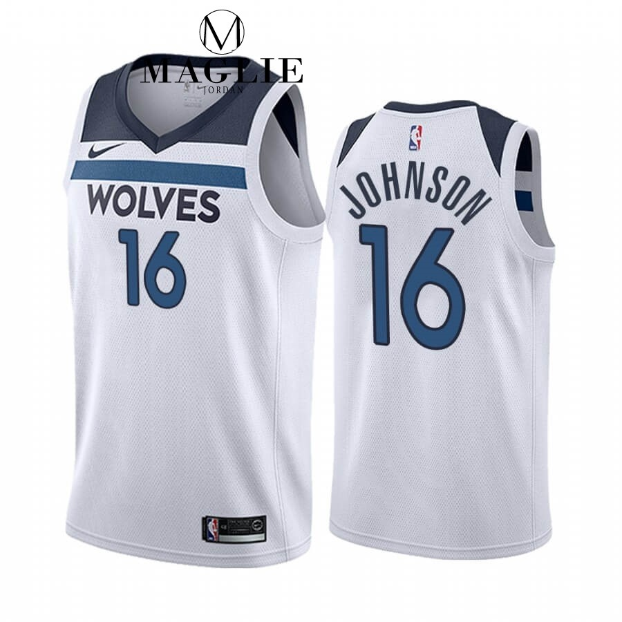 Maglia NBA Nike Minnesota Timberwolves NO.16 James Johnson Bianco Association 2019-20 A Poco Prezzo Online