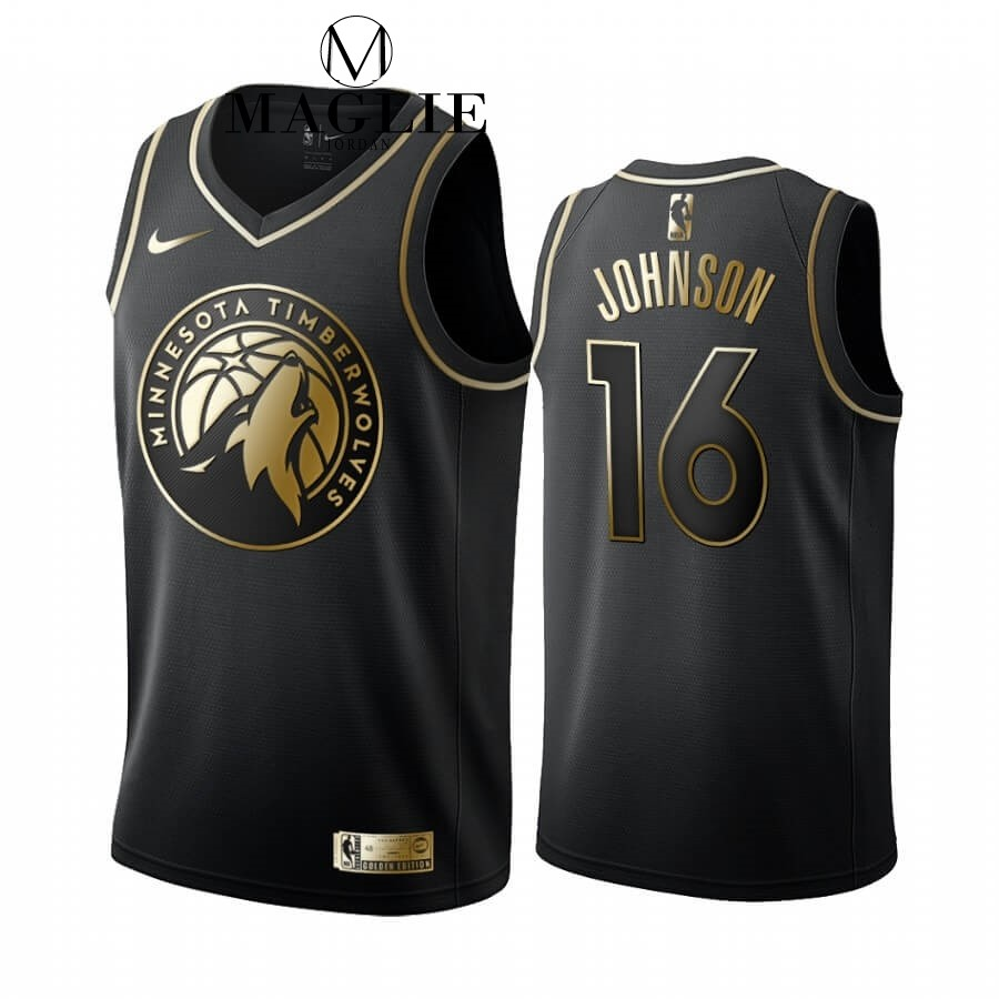 Maglia NBA Nike Minnesota Timberwolves NO.16 James Johnson Oro Edition 2019-20 A Poco Prezzo Online