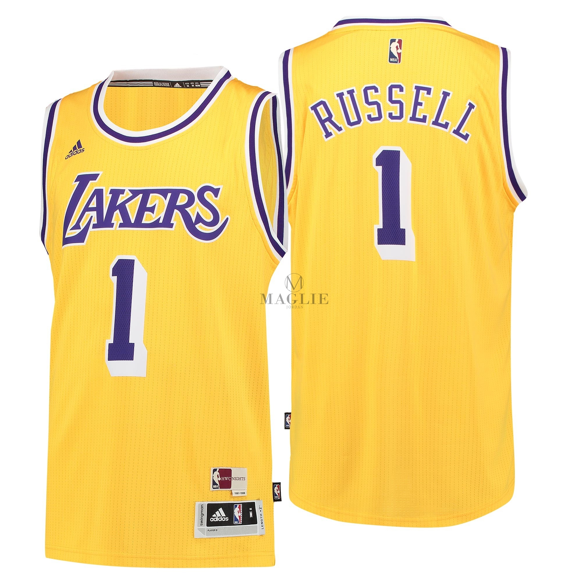 Maglia NBA Los Angeles Lakers NO.1 D'Angelo Russell Retro Blu A Poco Prezzo Online