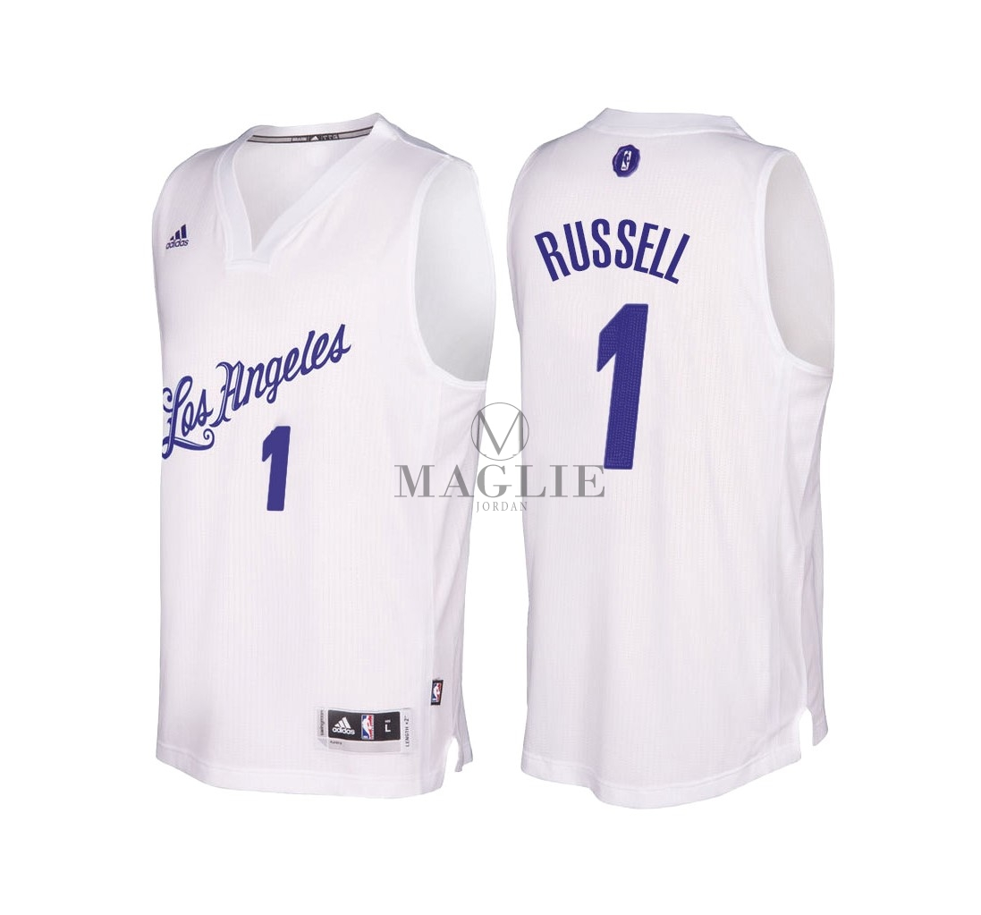 Maglia NBA Los Angeles Lakers 2016 Natale NO.1 D'Angelo Russell Bianco A Poco Prezzo Online